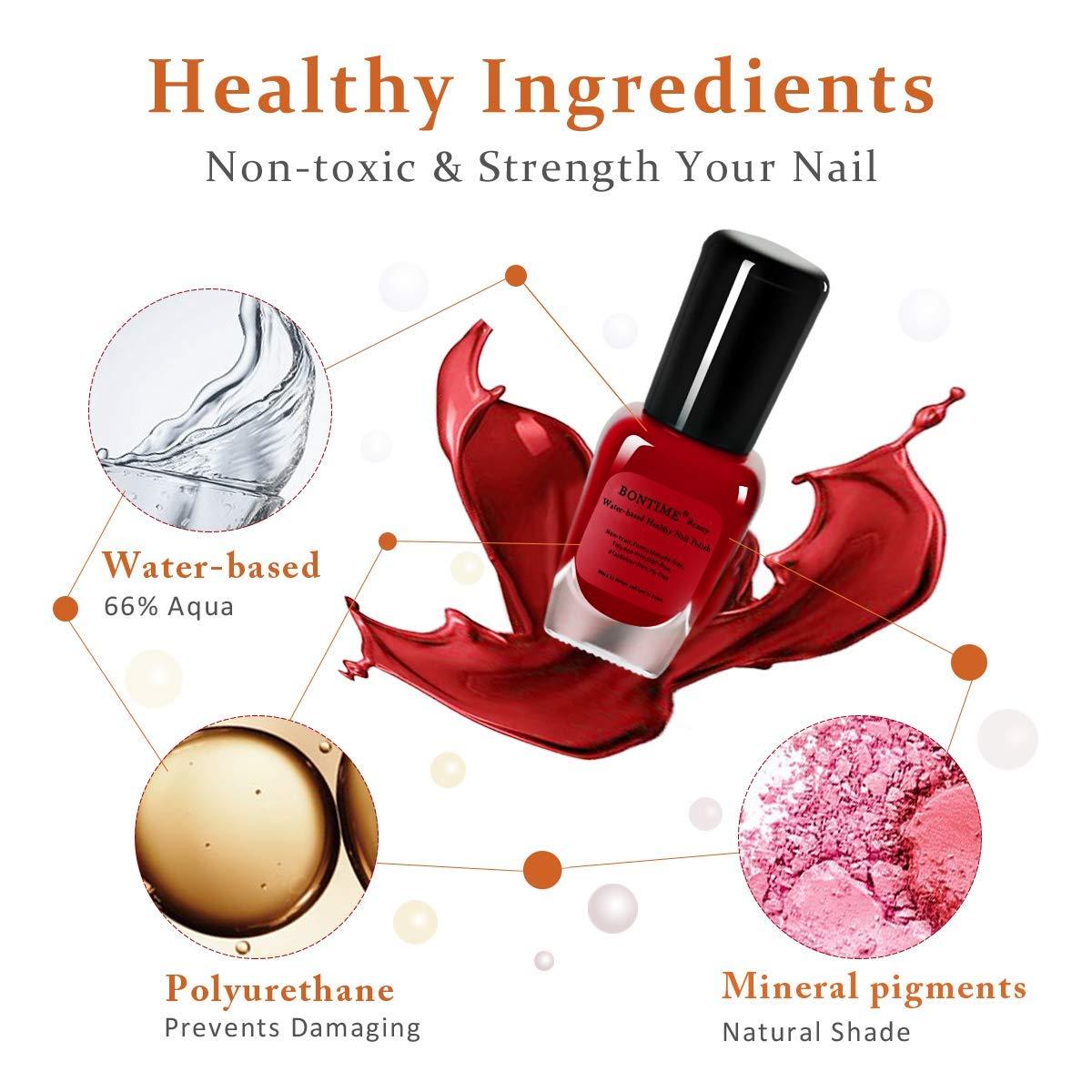 BONTIME Non-Toxic Nail Polish - Easy Peel Off & Quick Dry, Organic Water Based Nail Polish Set for Women,Teens,Kids(6 Colors,0.28 fl oz)