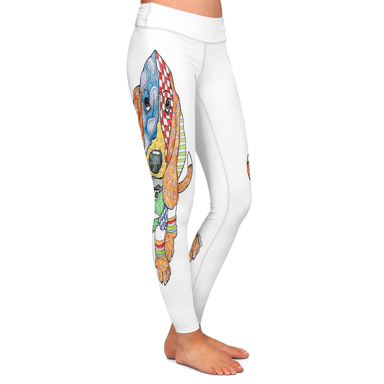 Athletic Yoga Leggings from DiaNoche by Marley Ungaro - Basset Hound Dog White