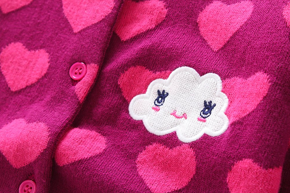 CJ Fashion Cute Knit Cardigan Sweater for Baby Girls 4-5 Years Old Hot Pink Crew Neck by CJ Fashion (Image #4)