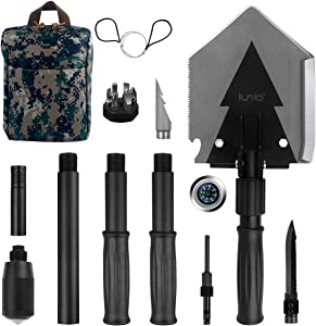 IUNIO Portable Folding Shovel 38 inch Length with Pickax Carrying Bag Multitool Spade for Camping Backpacking Entrenching Car Emergency