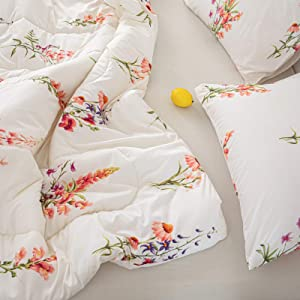 Merryword Offwhite Floral Comforter Set Pink Flowers Comforter Pink Lavender Flowers Printed Alternative Down Comforter Microfiber Botanical Bedding Queen 1 Comforter 2 Pillowcases (Queen, Offwhite)