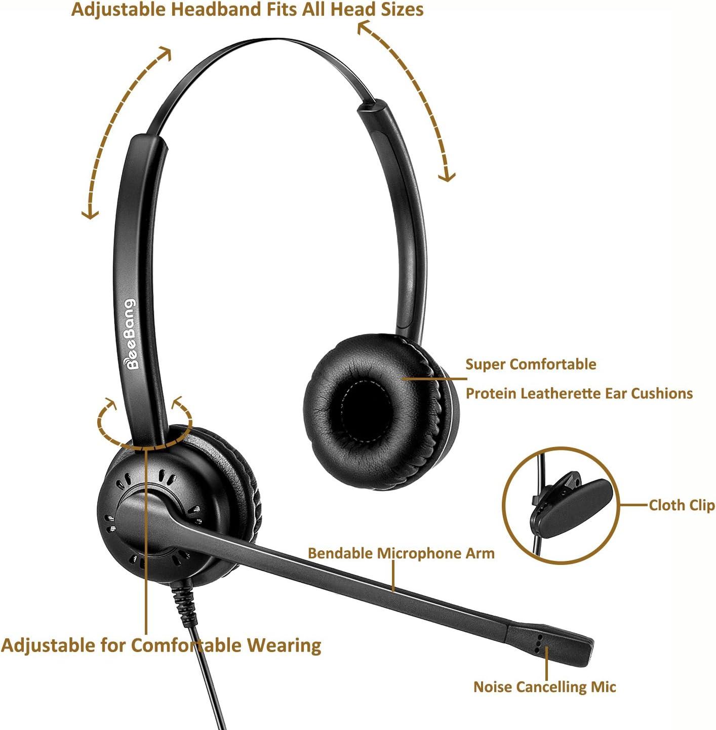 Beebang Casque T/él/éphone Fixe Dual RJ9 Oreillette de Centre dappel avec Microphone Anti-Bruit pour Avaya Plantronics Polycom Siemens Snom Toshiba Mitel NEC Nortel Alcatel