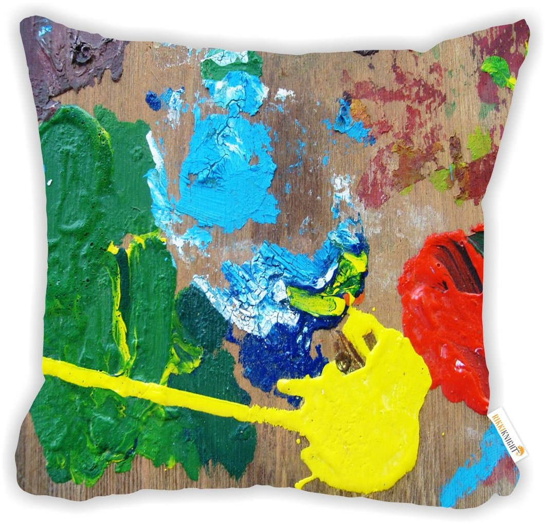 """Rikki Knight The Painter Pallet on Wood Design 18"""" Square Microfiber Throw Decorative Pillow with Double Sided Print (Insert NOT Included)"""