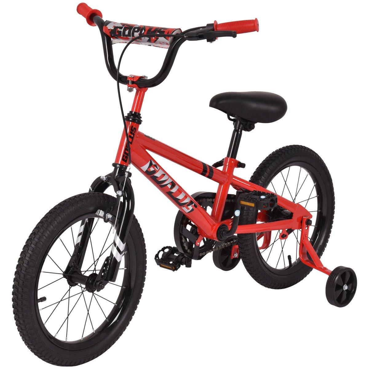 Goplus 16'' Kids Bike Bicycle, Boy's Bike and Girl's Bike w/Training Wheels, Toddler Ride, Gifts for Children (Red)
