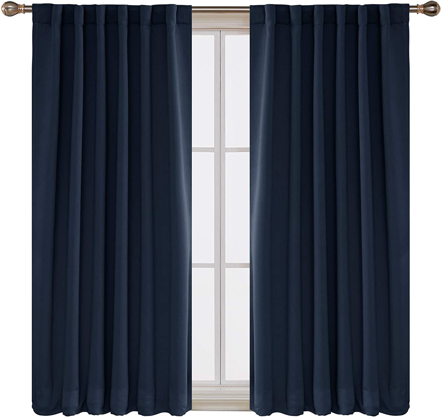 Deconovo Solid Back Tab and Rod Pocket Curtains Thermal Insulated Blackout Window Curtains for Kitchen 52x54 Inch Navy Blue 2 Panels