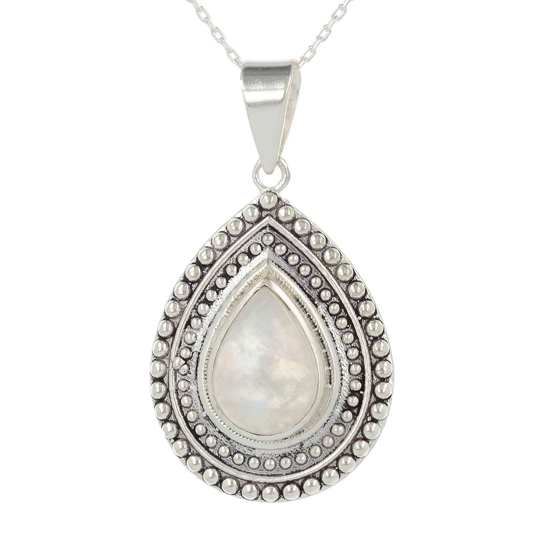 woman gift-Créateur de bijoux artisanal-bijou fait main-Pendentif -Pierre de lune- Argent massif-forme poire- Sertissage grains argent massif-femme