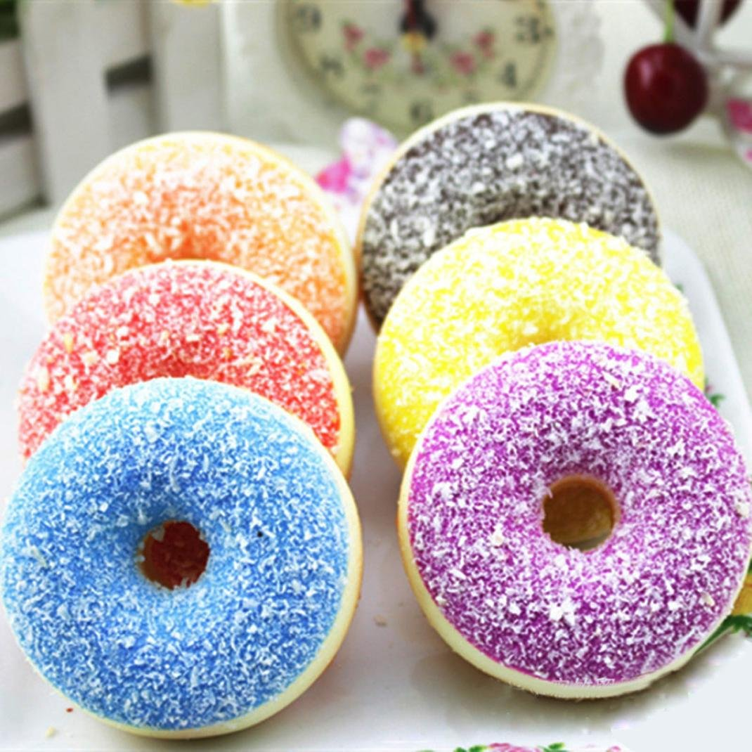 1 Pc Squishy Squeeze Stress Reliever Soft Colourful Doughnut Scented Slow Rising Toys (Random) Chanmin