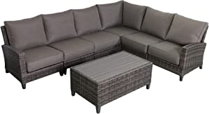 Envelor Barbados 6-Piece Sectional Set Outdoor Patio Furniture Rattan Wicker Frame Includes Coffee Table and Grey Olefin Cushions
