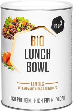 nu3 Lunch Bowl Orgánico 400 g – Guiso saludable de lentejas con vegetales y especies - Comida rápida para el trabajo – Almuerzo instantáneo para la ...