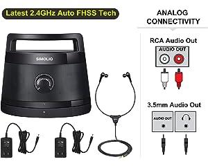 Simolio 2.4G Wireless TV Speakers System, Wireless Soundbox for Seniors, Wireless Speakers for