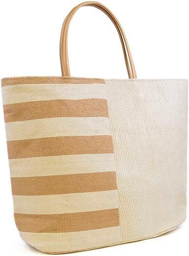 Bolsa de verano/de playa mitad a rayas/mitad lisa para mujer ...