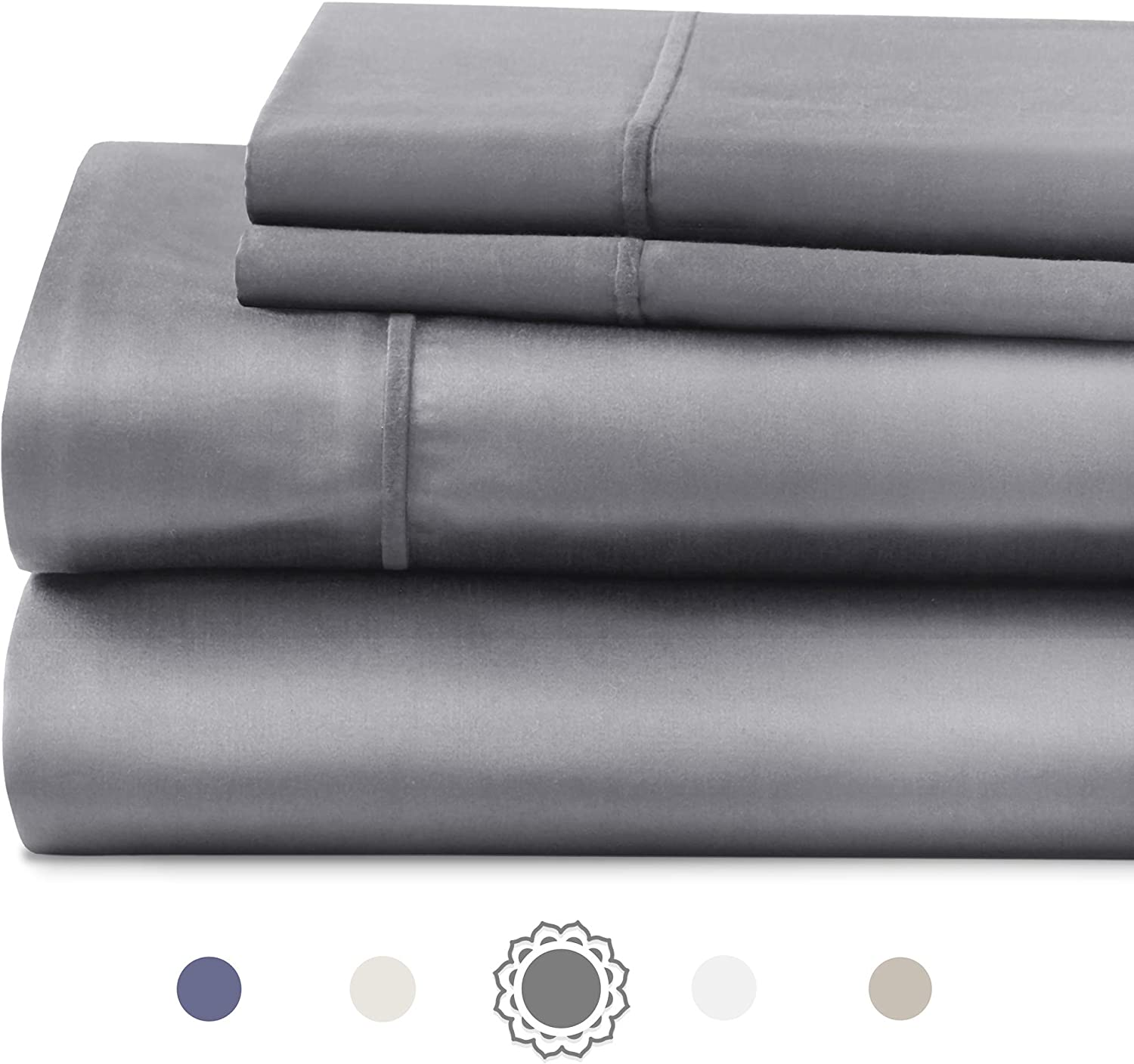 "Hyde Lane 1000 Thread Count Cal King Sheet Set - Grey | 4 Piece - Stretch Fitted Sheet & Shams| Stretches Up to 20"" with Deep Pocket 