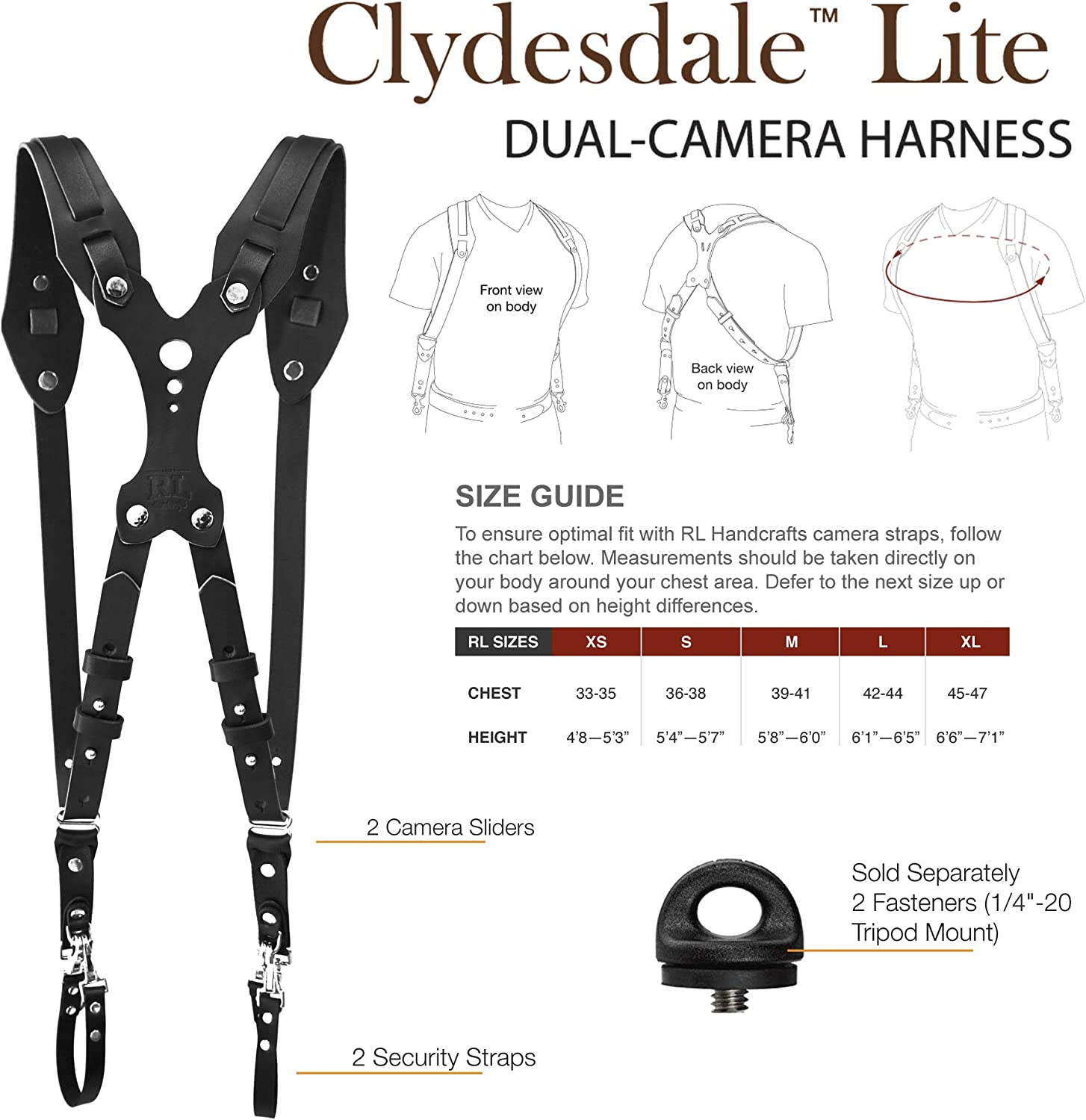 Clydesdale Lite-Dual Handmade Leather Camera Harness DLSR Mirrorless Point /& Shoot Made in The USA Sling /& Strap RL Handcrafts