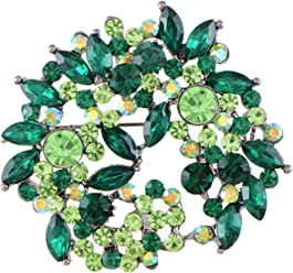 3725aa4dc12 Alilang Violet Lavender Purple Crystal Rhinestone Floral Wreath Brooch Pin
