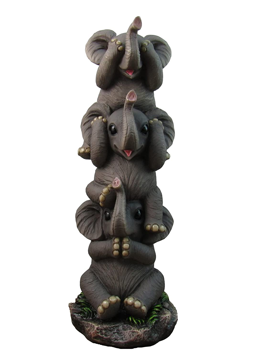 """DWK 10"""" See No Evil Pachyderms Stacking Baby Elephants See Hear Speak No Evil Decorative Statue Collectible Figure for Home and Office"""