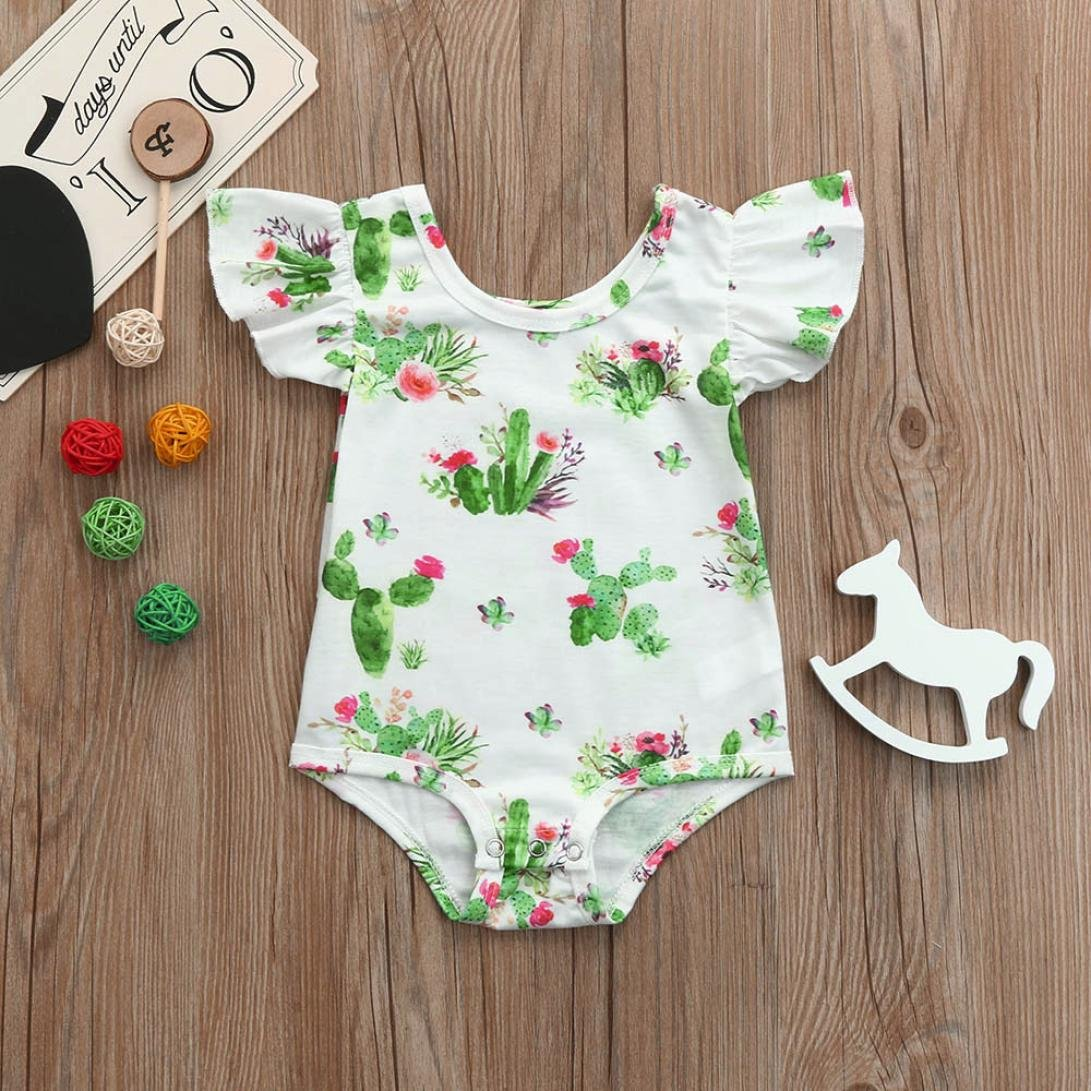 Dinlong Baby Girls Clothes Soft Floral Print Flying Sleeve Jumpsuit Romper