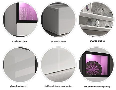 amazoncom baros wall unit modern center design led lights high capacity storage grey concrete kitchen u0026 dining