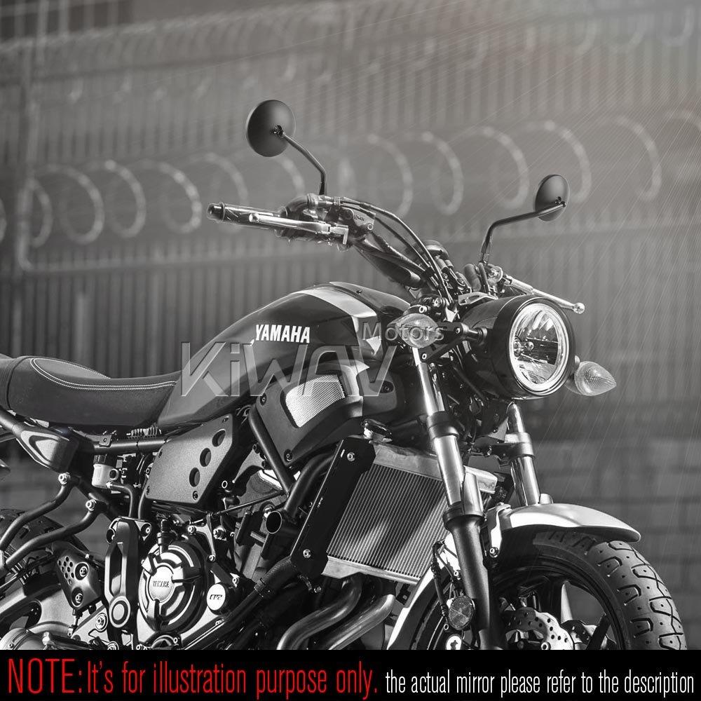 KiWAV Magazi Eclipse Black Motorcycle 1 or 7//8 Bar End Rear View Mirrors for Ducati Scrambler Clubmane E-mark