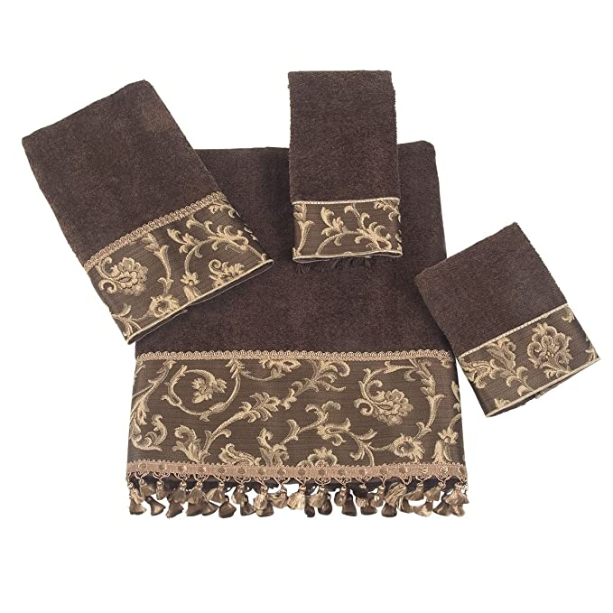 Amazon.com: Avanti Damask Fringe 4-Piece Towel Set, Mocha: Home & Kitchen