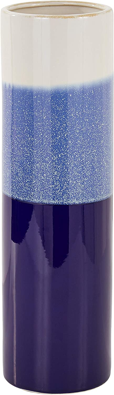 "Deco 79 59919 Cylindrical Ceramic Vase, 17"" x 5"", Blue/White"