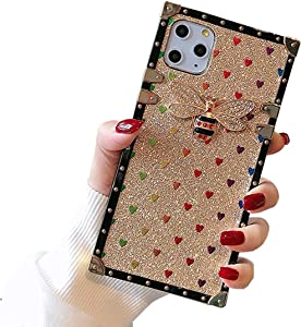 Muntonski iPhone11pro Square Case Compatible with Apple iPhone 11 Pro Cases Glitter Bling Sparkly Bee Xphone I Phone IP Iph 11pro Protective Cover 5.8 Inch (Gold)