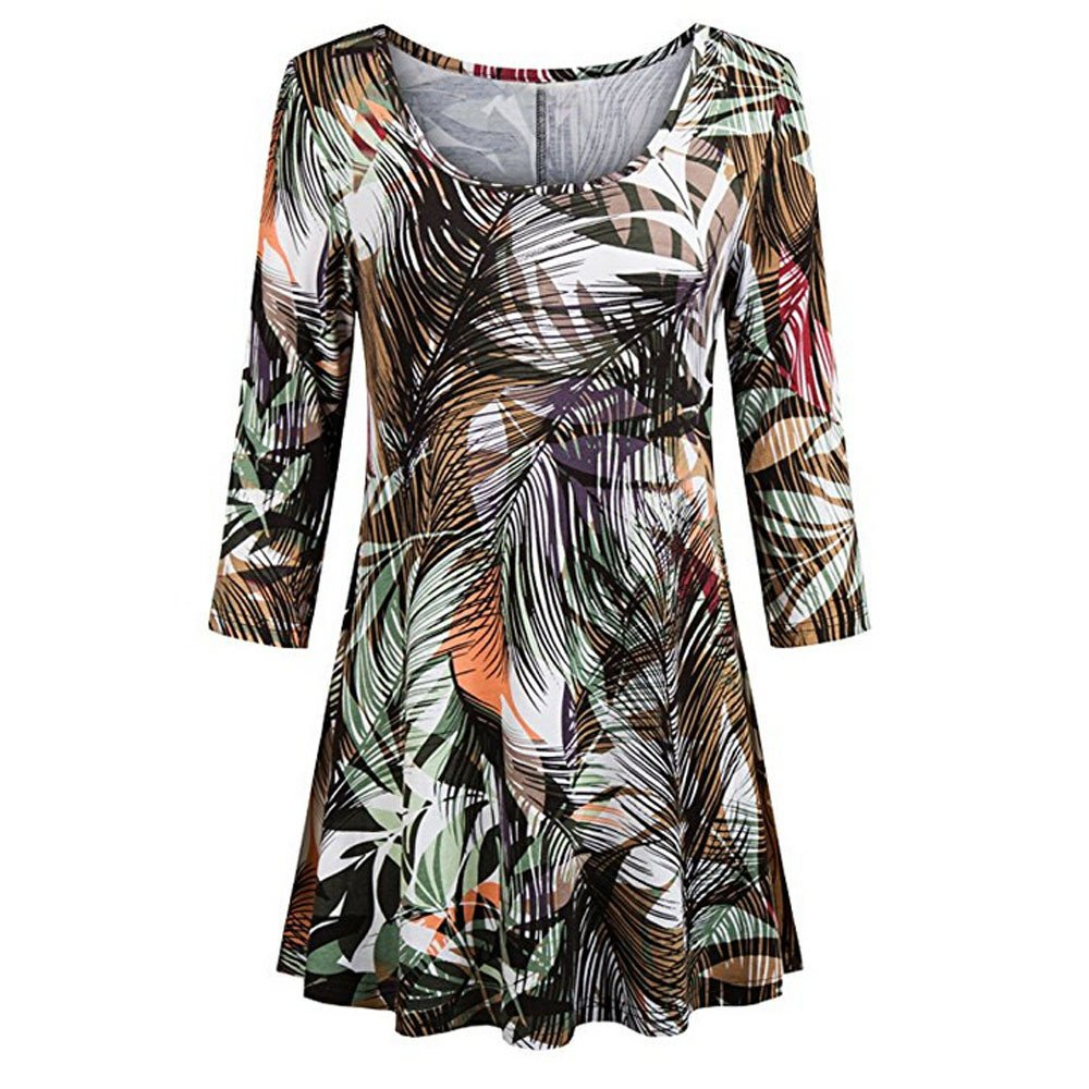 Fashion Womens Casual Floral Print Shirts 3/4 Sleeves O-Neck Tunic Blouse Tops Army Green