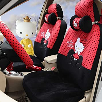 Hello Kitty 18pcs Red Black Winter Comfortable Universal Car Seat Covers Steering Wheel Cover
