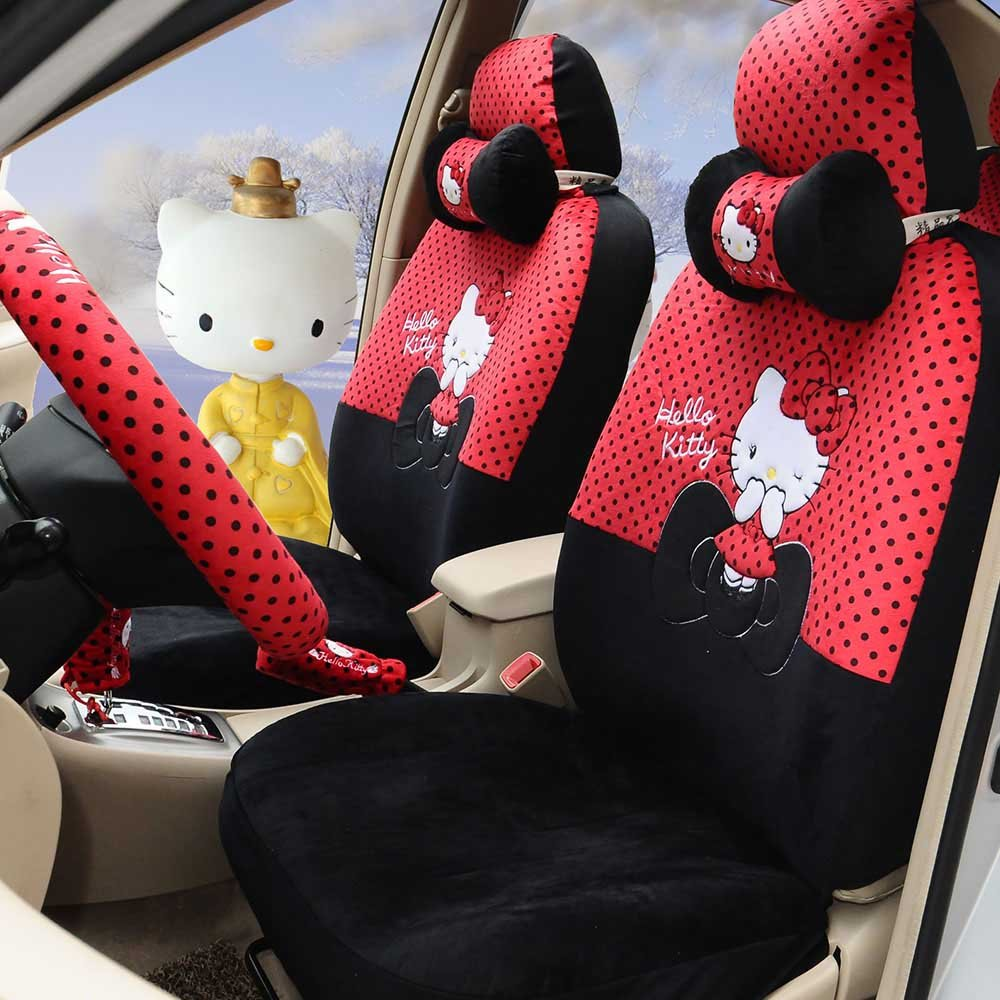 18pcs women sexy cartoon soft plush universal car seat covers car steering wheel cover Hand Brake Cover by PPSEX