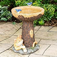 Garden Bird Baths Statue - Resin Raccoon Birdbath Polyresin,Outdoor Bird Bath Bowl, Resin Pedestal Fountain Decoration…
