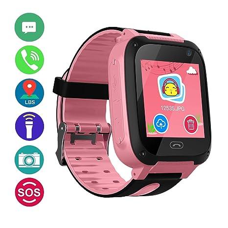 bhdLovely Kids SmartWatch Phone Smartwatches with SOS Voice Chat Camera Flashlight Alarm Clock Digital Wrist Watch Smartwatch Girls Boys Birthday ...