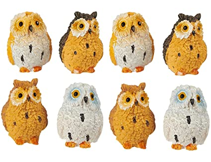 Juvale Owl Figurines   Pack Of 8 Mini Owl Resin Figurines, Fairy Garden  Accessories,