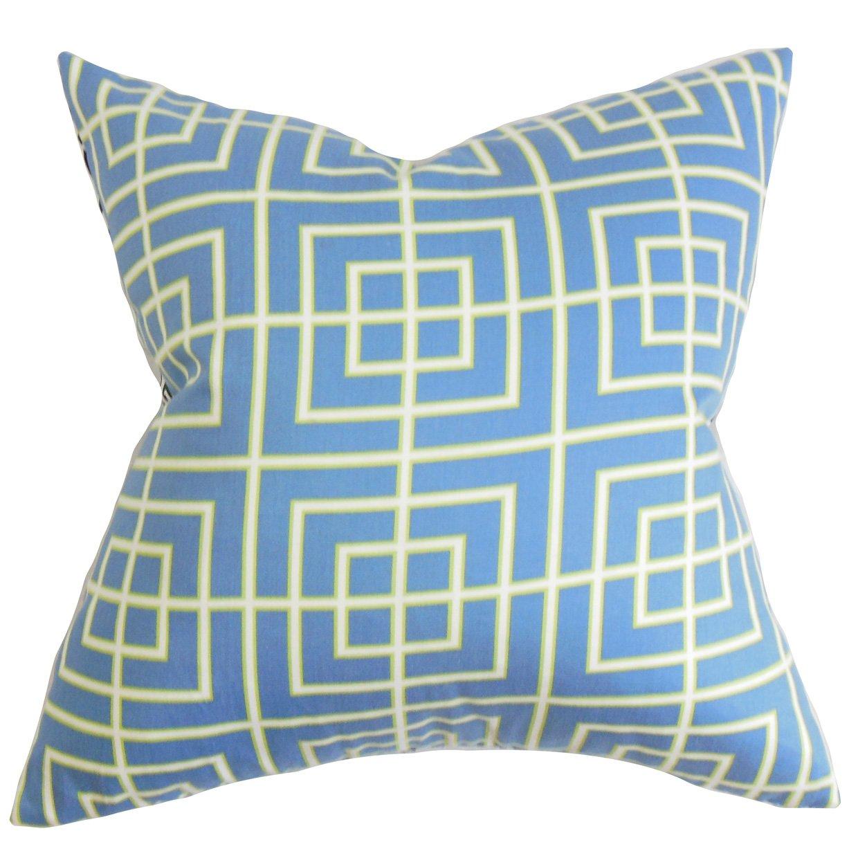 The枕コレクションp20-rob-squarelattice-hydrange Helmut幾何枕、ブルー、20