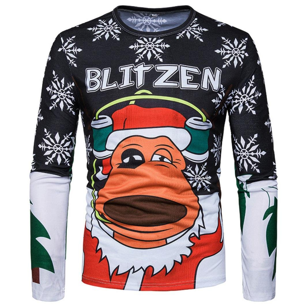 Anglewolf Men Christmas Santa 3D Print Floral Ultra Softstyle Cotton Tops Long-Sleeved Xmas Basic T-shirt Baseball Raglan Long Sleeve T-Shirt Bottom Tee Shirts