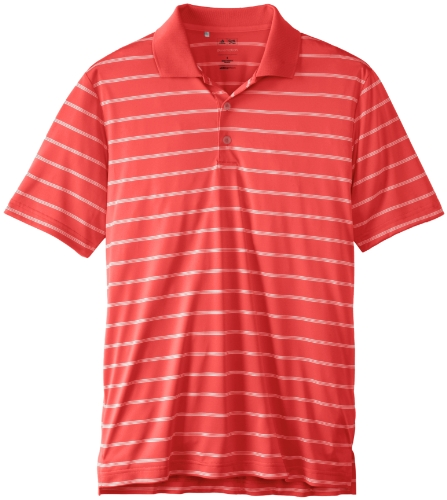 adidas Golf Men's Puremotion 2 Color Stripe Jersey Polo, Hi-Res Red/White, Small