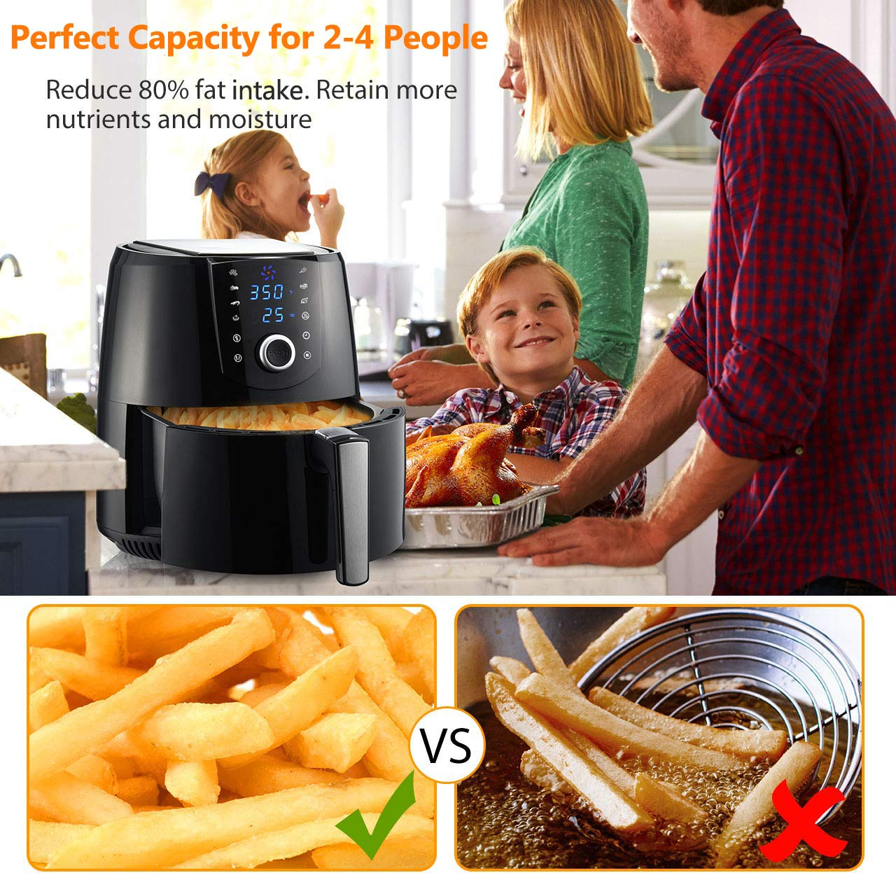 OMORC 3.7QT Air Fryer L Compact Size ME176 , Hot Air Fryer Oven For 2-4 People , Oilless Air Fryer w Quick Knob Touch Screen, Air Cooker w 8-15 Presets, Keep Warm, Dishwasher Safe, Recipe, 1400W