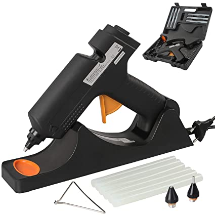 Kabellose Heißklebepistole | mit nützlichem Kunststoffkoffer, 25 Watt | inkl. 6 Transparente Heißklebesticks, für schnelle Re