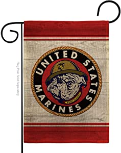 Marine Corps Bulldog Burlap Garden Flag Armed Forces USMC Semper Fi United State American Military Veteran Retire Official Small Decorative Gift Yard House Banner Double-Sided Made In USA 13 X 18.5