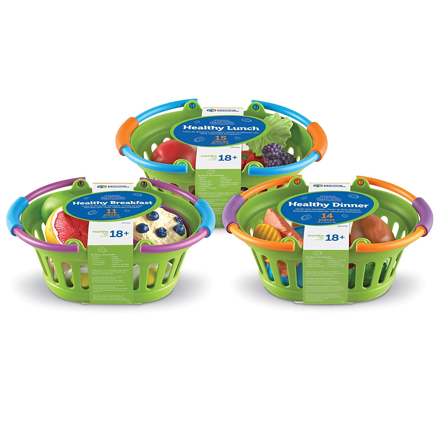Learning Resources New Sprouts Healthy Foods Basket Bundle, Pretend Toddler Food, 40 Pieces, Ages 18 Months+
