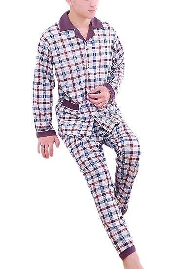 Vosujotis Hombres Algodón Pijama V Cuello Manga Larga Plaid Ropa De Dormir Suave: Amazon.es: Ropa y accesorios