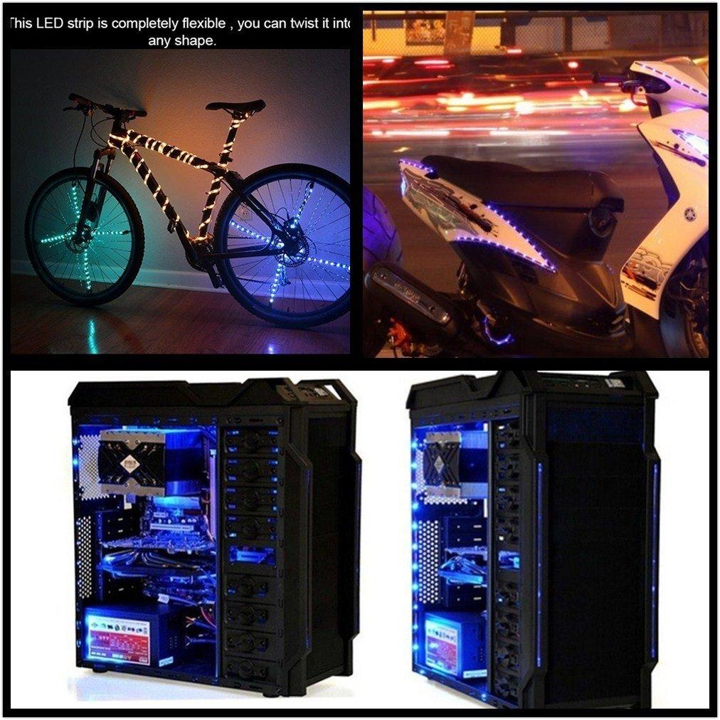 DaSinKo Tiras LED Iluminación 1M 30Leds impermeable IP65 SMD 5050 Multicolor RGB Retroiluminado Tira de Luz LED Lampara 5V pilas de operado Hogar ...