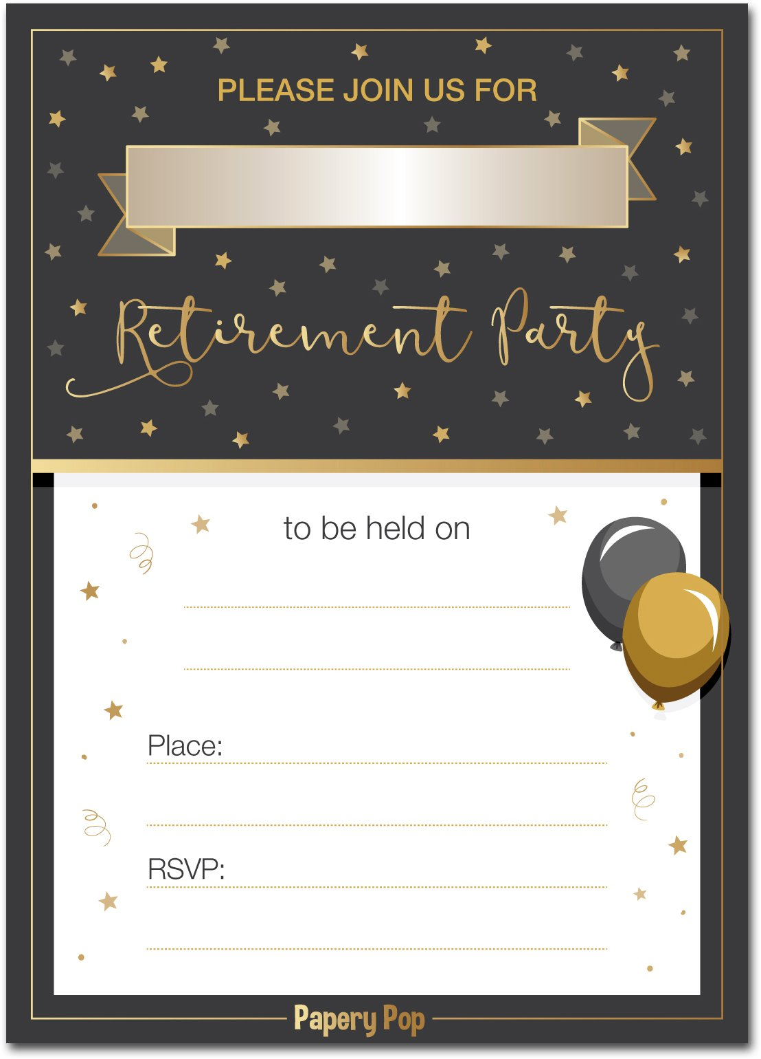 30 Retirement Party Invitations with Envelopes for Men Or Women (30 Pack) - Retired Invites Cards by Papery Pop