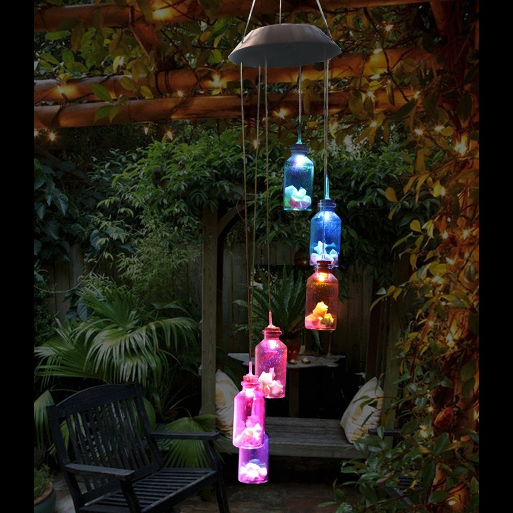 Romantic LED Wind Chime Lights, Solar Color Changing Solar Mobile Wind Chimes Lights Night Light For Home, Party, Festival Days, Garden,Christmas Decoration with Spinning Hook(Lucky Star Bottle)