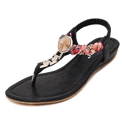 DQQ Damen Exotic Strass flach Sandale, Schwarz - schwarz - Größe: 39