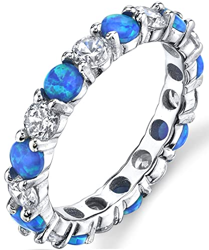 Ultimate Metals Co. ® Sterling Silver 925 Eternity Ring Engagement Wedding Band With Sapphire Blue Color Cubic Zirconia 7f6XZse8