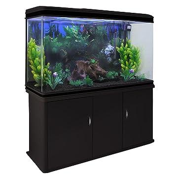 MonsterShop - Acuario 300 litros con Mueble Negro y Grava Negra 143cm x 120cm x 39cm: Amazon.es: Hogar