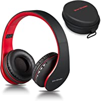 Wireless Bluetooth Over Ear Stereo Foldable Headphones, Wireless and Wired Mode Headsets with Soft Memory-Protein Earmuffs,Built-in Mic for Mobile Phone TV PC Laptop (Black&Red)