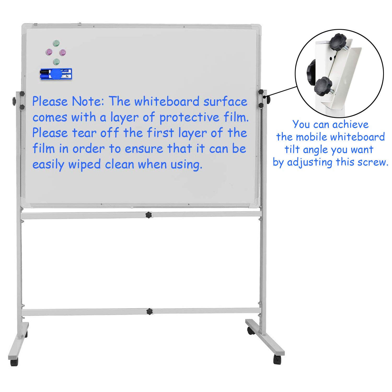 Mobile Whiteboard on Wheels, Mobile Magnetic Dry Erase Board with Rolling Stand 48''x36'' Portable Standing White Boards for School, Office, Home