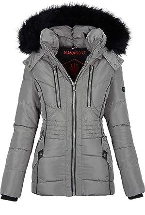 Navahoo Designer Damen Winter Jacke Parka Mantel Teddyfell warm gefüttert B327