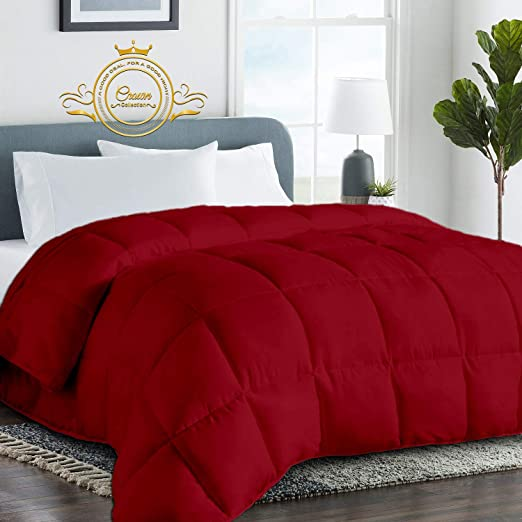 Amazon.com: Burgundy Luxurious Goose Down Comforter  Queen Size 88