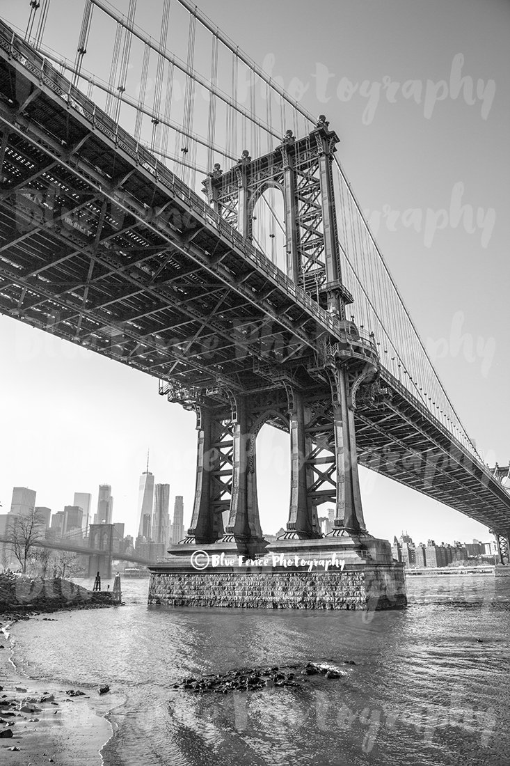 Brooklyn manhattan bridge black and white bw dumbo new york city street photography ny print industrial decor living room art sizes available